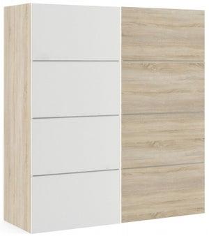 Verona 2 Door 2 Shelves Sliding Wardrobe W 180cm - Oak with White and Oak