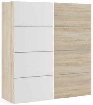 Verona 2 Door 5 Shelves Sliding Wardrobe W 180cm - Oak with White and Oak