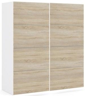 Verona 2 Door Sliding Wardrobe W 180cm - White and Oak