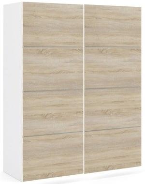 Verona 2 Door Sliding Wardrobe W 120cm - White and Oak