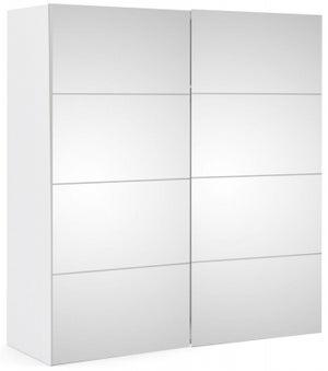 Verona 2 Door 5 Shelves Sliding Wardrobe W 180cm - White with Mirror