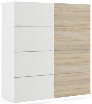Verona 2 Door Sliding Wardrobe W 180cm - White with White and Oak