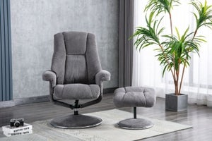 GFA Denver Swivel Recliner Chair with Footstool - Ash Fabric