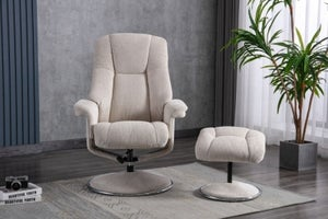 GFA Denver Swivel Recliner Chair with Footstool - Biscotti Fabric