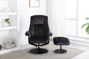 GFA Denver Swivel Recliner Chair with Footstool - Liquorice Fabric