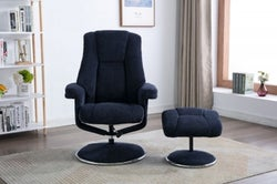 GFA Denver Swivel Recliner Chair with Footstool - Midnight Blue Fabric
