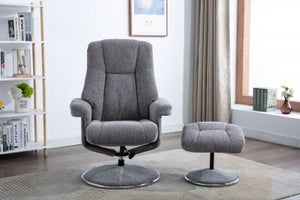 GFA Denver Swivel Recliner Chair with Footstool - Pewter Fabric