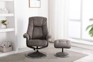 GFA Denver Swivel Recliner Chair with Footstool - Rhino Fabric