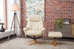 GFA Dubai Swivel Recliner Chair with Footstool - Cream Plush Fabric