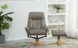 GFA Dubai Swivel Recliner Chair with Footstool - Grey Plush Fabric