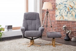 GFA Dubai Swivel Recliner Chair with Footstool - Lisbon Grey Fabric