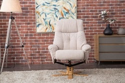 GFA Dubai Swivel Recliner Chair with Footstool - Lisbon Wheat Fabric