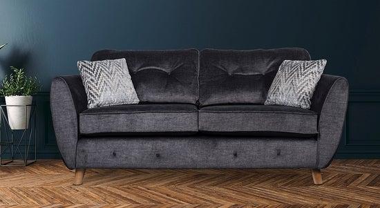 GFA Holborn 3 Seater Fixed Sofa - Graphite Fabric