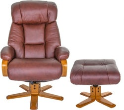 GFA Nice Swivel Recliner Chair with Footstool - Chestnut Leather Match