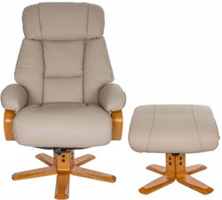 GFA Nice Swivel Recliner Chair with Footstool - Ivory Leather Match