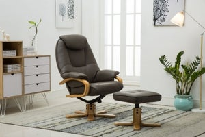 GFA Pisa Swivel Recliner Chair with Footstool - Brown Plush Fabric