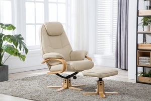 GFA Pisa Swivel Recliner Chair with Footstool - Cream Plush Fabric