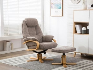 GFA Pisa Swivel Recliner Chair with Footstool - Lisbon Mocha Fabric