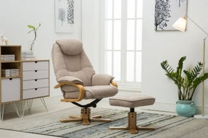 GFA Pisa Swivel Recliner Chair with Footstool - Lisbon Wheat Fabric
