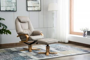 GFA Pisa Swivel Recliner Chair with Footstool - Pebble Plush Fabric