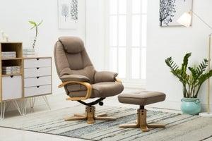GFA Pisa Swivel Recliner Chair with Footstool - Truffle Plush Fabric