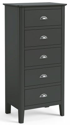 Global Home Arundel Charcoal Painted 5 Drawer Tollboy Chest