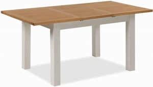 Global Home Devon Oak and Soft Cotton Painted 120cm-165cm Extending Dining Table