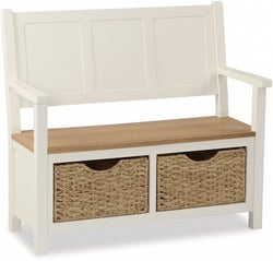 Suffolk Buttermilk Painted Monk Bench with Baskets