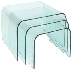 Greenapple Pure Glass Arc Nest of Tables