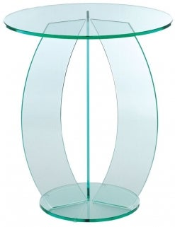 Greenapple Pure Glass Round Table with C Shape Leg