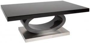 Greenapple Saturn Glass Top Coffee Table - Black High Gloss and Grey