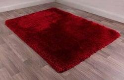 Mayfair Red Plain Shaggy Rug