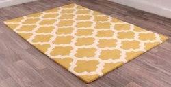 New Art Classico Gold Ivory Geometric Wool Rug