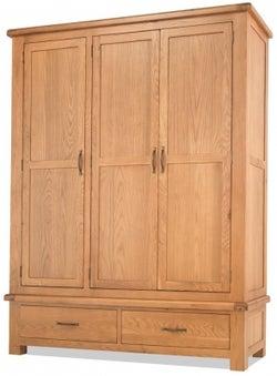 Bradburn Oak 3 Door 2 Drawer Wardrobe