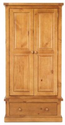 Churchill Pine 2 Door 1 Drawer Wardrobe