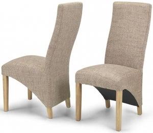 Ariton Beige Tweed Fabric Dining Chair (Pair)