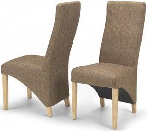Ariton Brown Tweed Fabric Dining Chair (Pair)