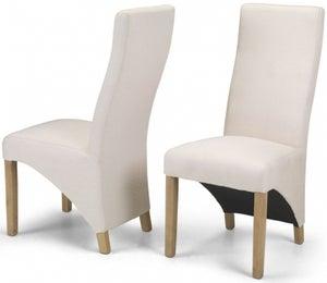Ariton Ivory Fabric Dining Chair (Pair)