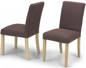 Elida Brown Linen Fabric Dining Chair (Pair)