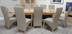 Homestyle GB Bordeaux Oak Twin Panel Grand Extending Dining Set and 10 Wave Mushroom Chairs