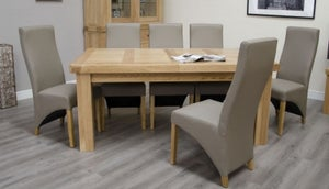 Homestyle GB Bordeaux Oak Twin Panel Large Extending Dining Set and 6 Wave Mushroom Chairs