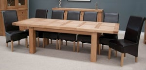 Homestyle GB Bordeaux Oak Twin Panel Grand Extending Dining Set and 8 Richmond Black Chairs