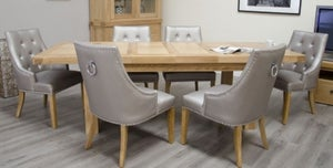Homestyle GB Bordeaux Oak Twin Panel Large Extending Dining Set and 6 Marjukka Stone Chairs