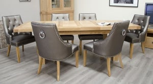 Homestyle GB Bordeaux Oak Twin Panel Large Extending Dining Set and 6 Marjukka Tungsten Chairs
