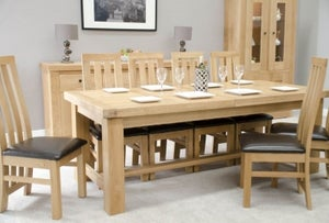 Homestyle GB Bordeaux Oak Twin Panel Large Extending Dining Set and 8 Paris Bycast Chairs