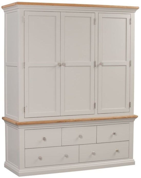 Homestyle GB Cotswold Oak and Painted 3 Door 5 Drawer Wardrobe