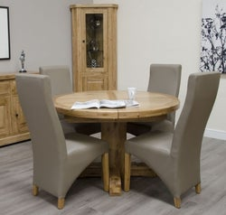 Homestyle GB Deluxe Oak Super Oval Extending Dining Set and 4 Wave Mushroom Chairs
