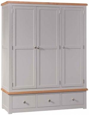 Homestyle GB Diamond Painted 3 Door 3 Drawer Wardrobe