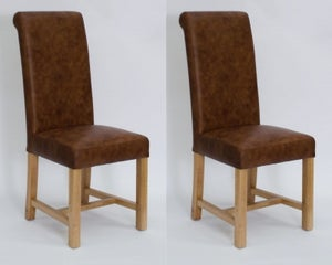 Homestyle GB Henley Dining Chair (Pair) - Mocha Leather