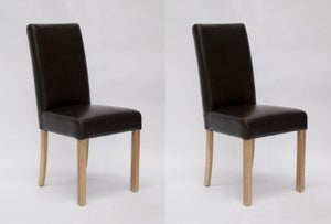 Homestyle GB Marianna Dining Chair (Pair) - Brown Bycast Leather